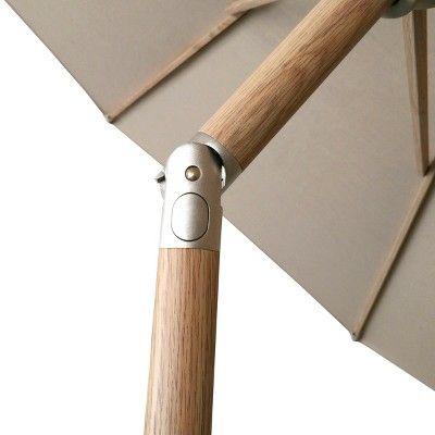 9' Round Sunbrella Umbrella - Canvas Heather Beige - Light Wood Finish - Smith & Hawken