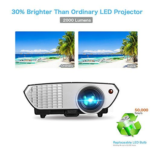 nice Video Projector 2000 Lumens Mini Projector 120 Inch Projection Image Portable Home Theater Projector USB VGA AV 2HDMI Input Multimedia Projector for Home Movies Night PS WII Games Football Match