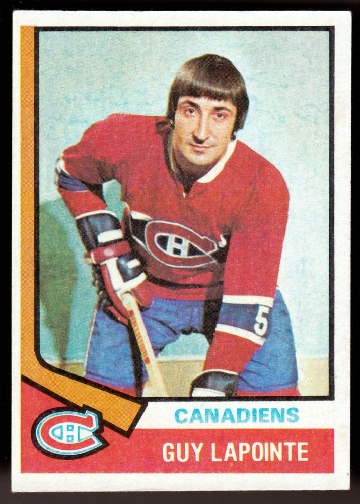 MONTREAL CANADIANS 1974-75 TOPPS GUY LAPOINTE EX+NM CONDITION FREE SHIPPING #MontrealCanadiens