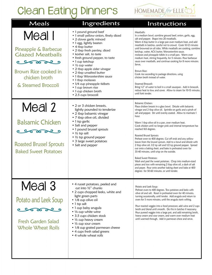 Clean Eating Meal Plan - Homemade for Elle
