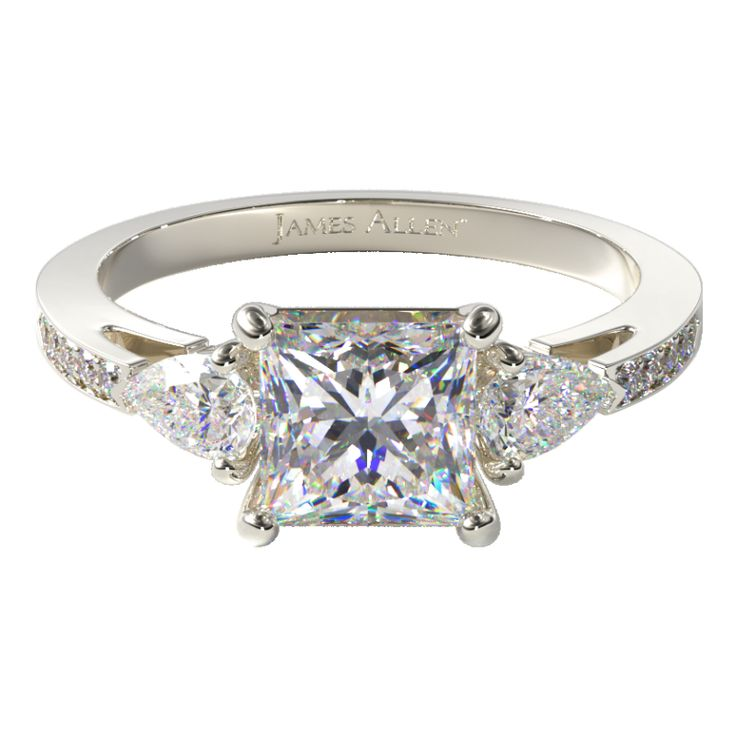 Three Stone Engagement Setting in White Gold - Price Excludes Center Diamond.