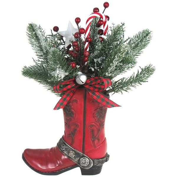 St. Nicholas Square® Holiday Texas Botanical Boot Decor ($40) ❤ liked on Polyvore featuring home, home decor, holiday decorations, multicolor, cowboy home decor, country star home decor, country home decor, colorful home decor and country style home decor