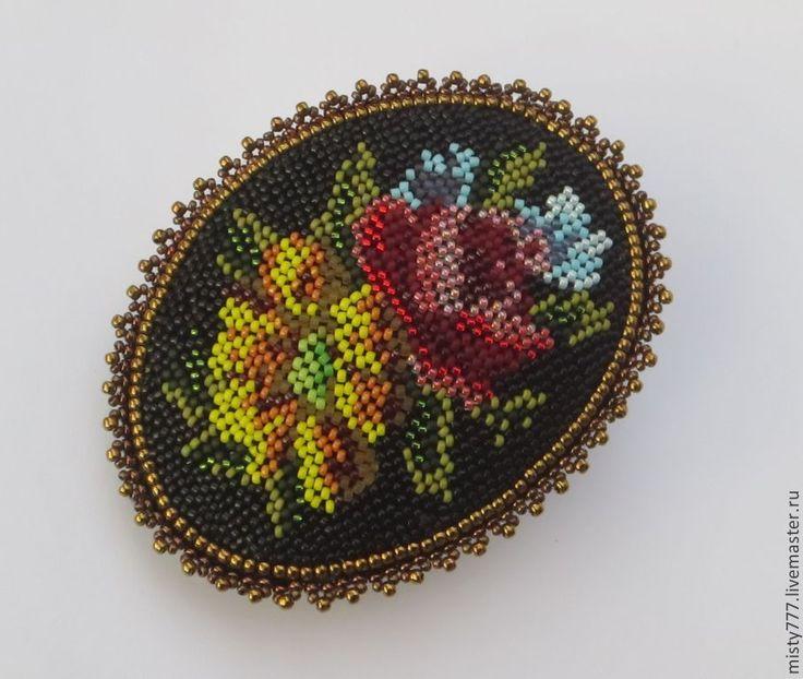 Купить Букет с розой - винтажная брошь, старинный стиль, роза, вышитая брошь, викторианский стиль
