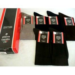Calza uomo Pierre Cardin. Calza lunga lavorazione della maglia liscia,in Filo di scozia con elastico confort