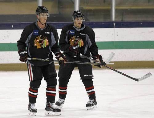 Toews and Kane at ND training camp