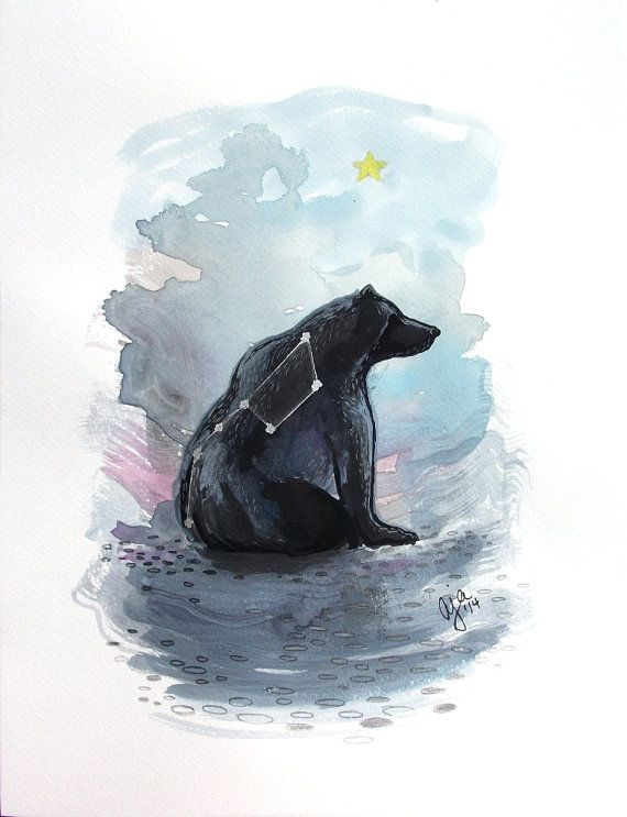 Watercolor Bear Big Dipper constellation illustration by Aja Ursa Major 9x12 inches