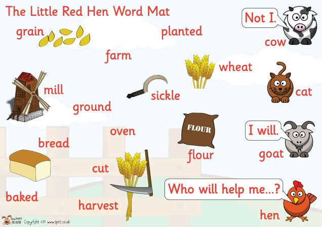 The Little Red Hen Word Mat - An A4 sized word mat with key words and images relating to the traditional tale of the Little Red Hen. Key words include: harvest, wheat and ground. Great as an aid in retelling the story and for independent writing.