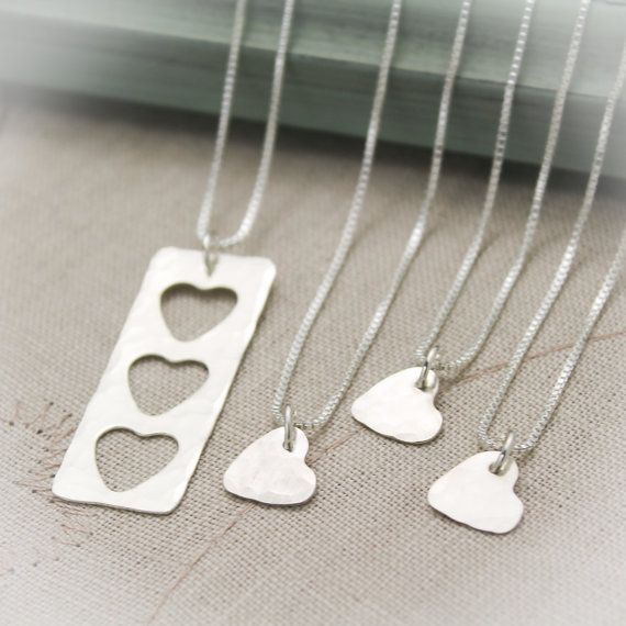 Mother Daughter Grandmother Granddaughter Heart Personalized Necklace Set in Sterling Silver