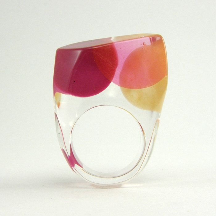 Clear resin ring, Pink and Gold Resin Ring, Geometric Ring. $40.00, via Etsy.