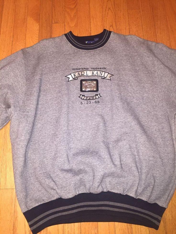 Rare!! Vintage Karl Kani Jeans Sweatshirt Size XL Gray & Black #KarlKani #CrewNeck