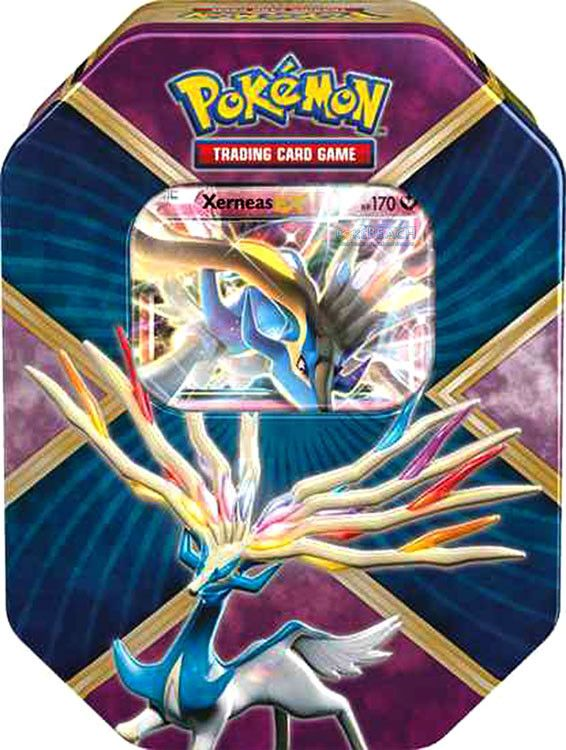 A great Legendary Pokémon-EX is revealed! Choose the destructive force of Shiny Xerneas-EX in the Pokémon Trading Card Game: Shiny Kalos Tin! This rugged tin contains a mighty Pokémon-EX from the Kalo