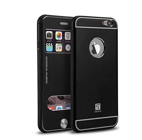 Luxus Aluminum Apple iPhone 6, 6s Schutzhülle Flip-Cover Fenster - schwarz - Anrufannahme über Sichtfenster von PhoneStar https://www.amazon.de/dp/B01M9FFC64/ref=cm_sw_r_pi_dp_x_3Djhyb4N6VYY0 #schutzhülle #case #black #style #fenster #phonestar #luxury