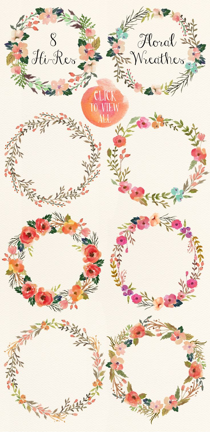 Watercolor flower DIY pack Vol.3 - Illustrations - 3. Love these watercolor wreath clip art pretties!