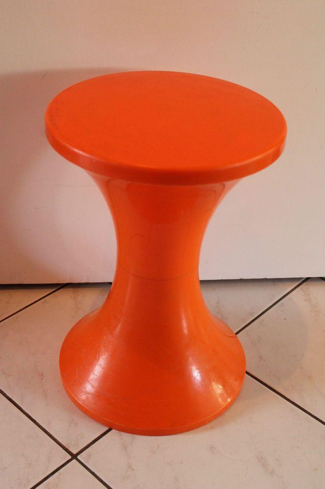 70er Jahre Tulpenfuß Hocker Space AgeDesign ORANGE 70s Stool  Stuhl Chair Tulip