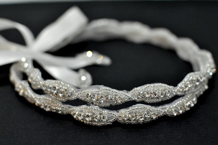 Double Beaded Trim in Silver Headbands - Wedding Headpiece - Ribbon - Crystal - Accessories - Bridal - Wedding - Rhinestone headband. $43.80, via Etsy.