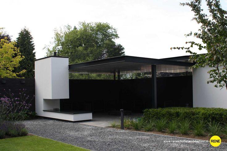 visualisatie en omgevingsvergunning Ontwerp voor een carport, garage en een buiten kamer met een fraaie sierhaard. De architectuur is in perfecte harmonie gebracht met het tuinontwerp en de bestaande woning.