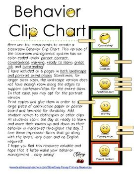 FREE! (While it lasts) Cute! Here are the components to create a practical, colorful classroom Behavior Clip Chart. This version of the classroom management system has six colo...