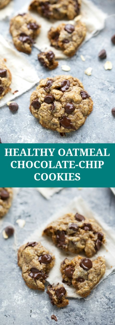 The BEST healthier oatmeal chocolate-chip cookies NO flour or butter PLUS only 4 tablespoons sugar in the whole recipe!