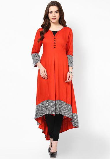Red Printed Kurta - Aks Kurtas & kurtis for women   buy women kurtas and kurtis online in indium