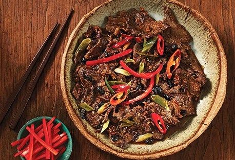 "Kylie Kwong's stir-fried beef with black bean sauce and chilli ""Repinned by Keva xo""."