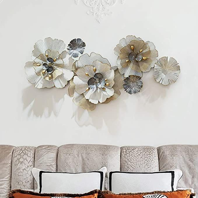 Taesouw Home Wall Decoration Sculpture Wall Plaque Decorative Art Sculpture Metal 3d Flow In 2020 Metal Flower Wall Decor Metal Sculpture Wall Art Metal Wall Art Decor