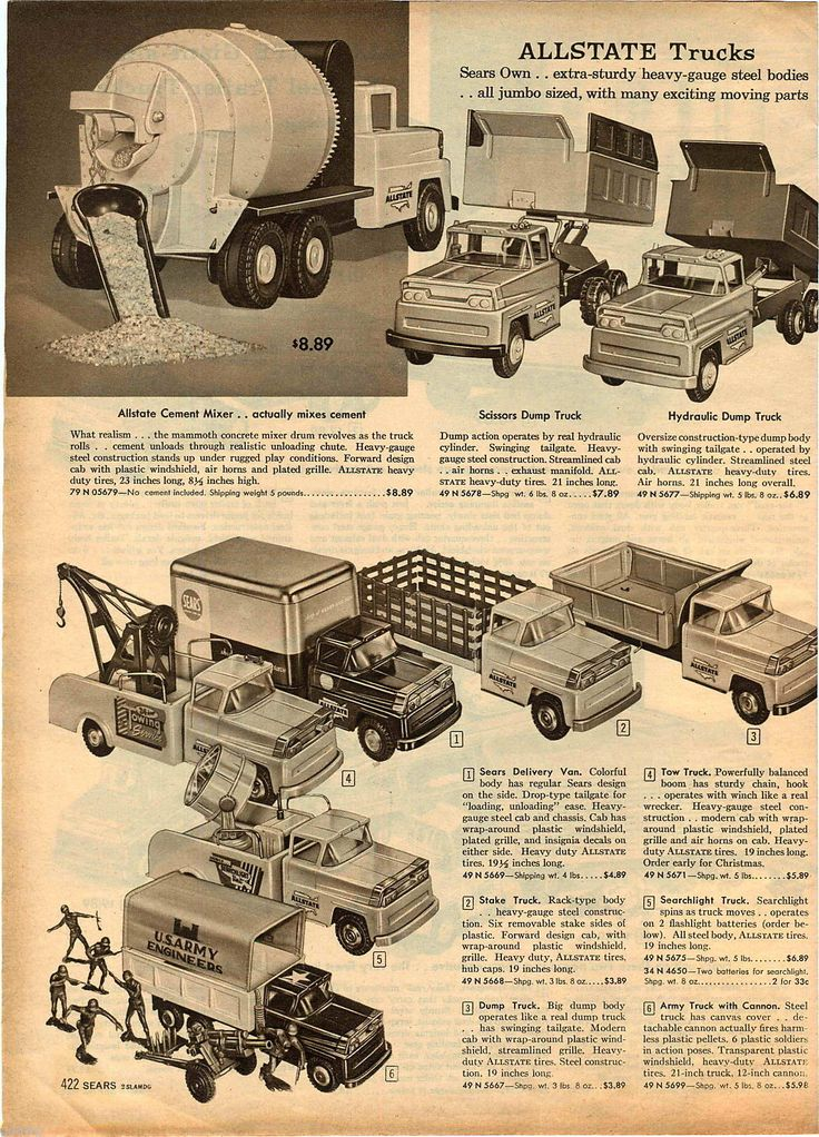1959 Advert 3 PG Toy Trucks Sears Allstate Tow Wrecker US Army Pick Up Transport | eBay