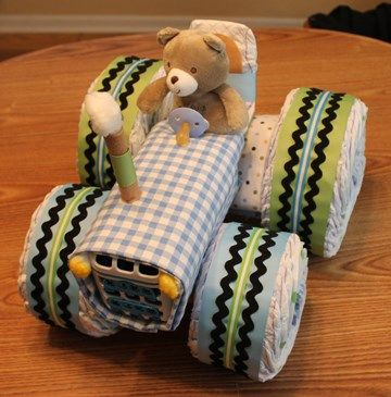 Tractor Diaper Cake for farm-themed baby boy shower -- How To