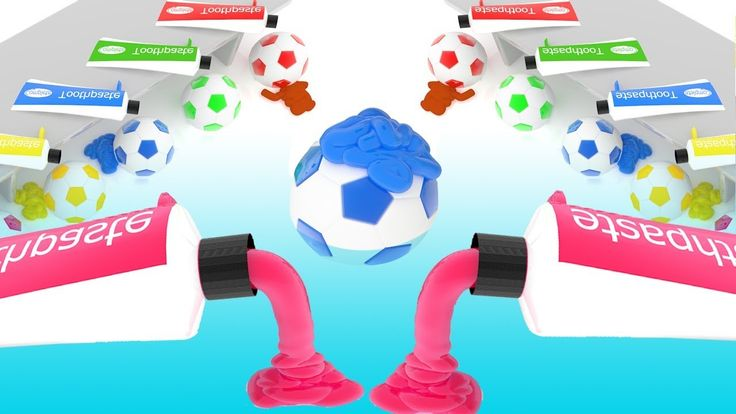 Colors for Children to Learn with Toothpaste Soccer Balls 3D Kids Learni...