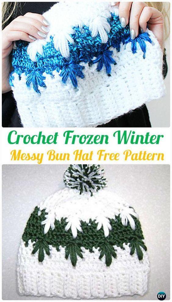 Crochet Frozen Winter Puff Spike Stitch Messy Bun Hat Free Pattern - #Crochet Ponytail Messy Bun Hat Free Patterns
