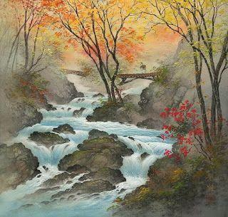 Cuadros Modernos Pinturas : Susurrantes Paisajes Japoneses Primaverales, Pinturas Típicas de Kojima Koukei