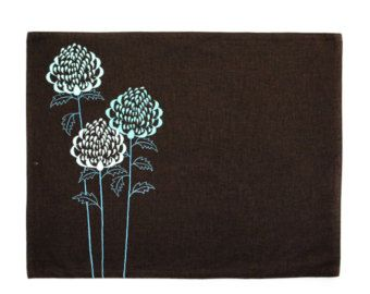 Flower Linen Table Runner Deep red peony embroidery on by KainKain