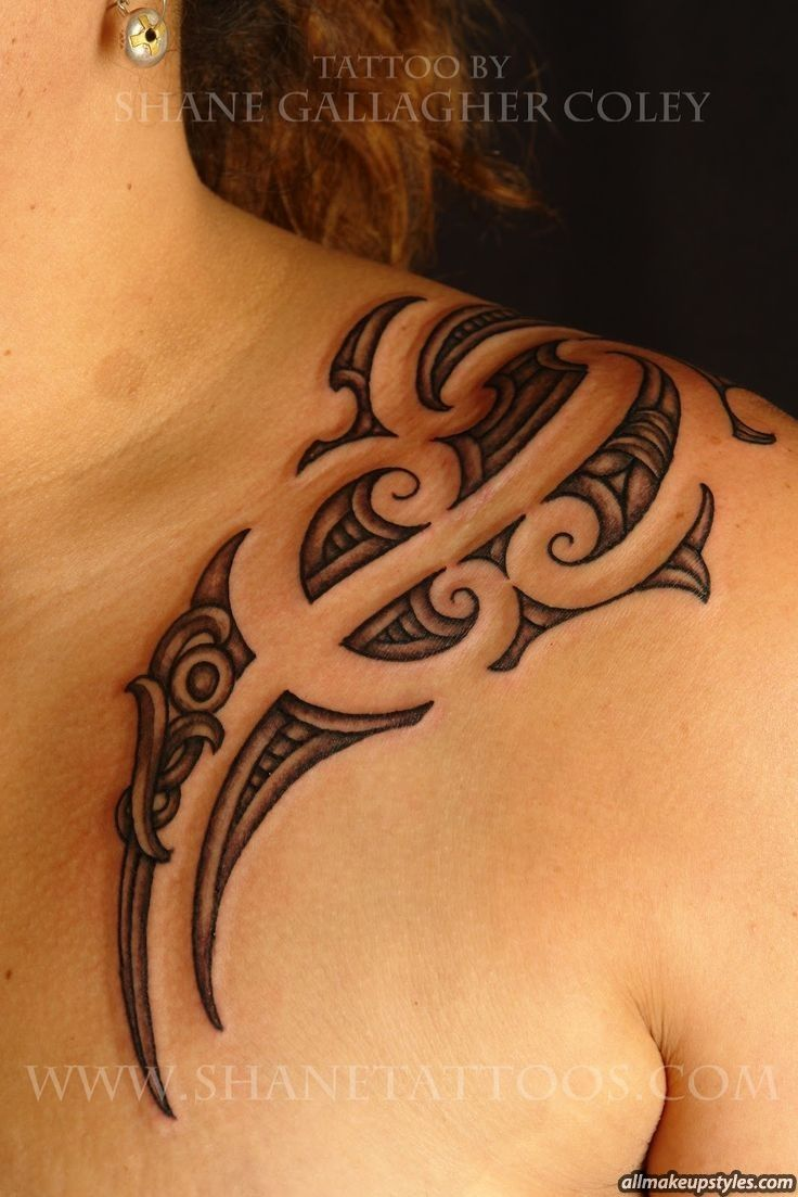 faminine tribal left shoulder tattoo