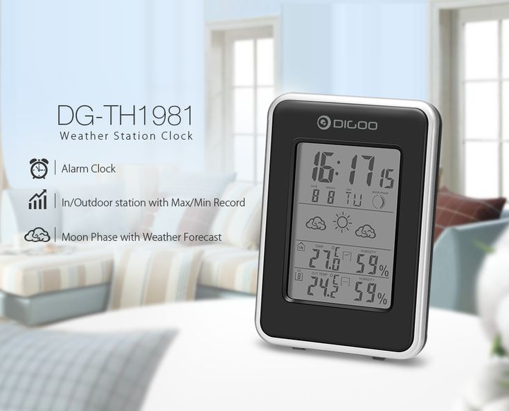 Digoo DG-TH1981 Weather Station Blue Backlit Hygrometer Thermometer Outdoor Forecast Sensor Clock