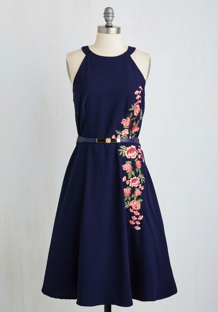 Moxie Posse Dress. Chic courage and classic sophistication merge on this marvelous midnight blue A-line. #blue #modcloth