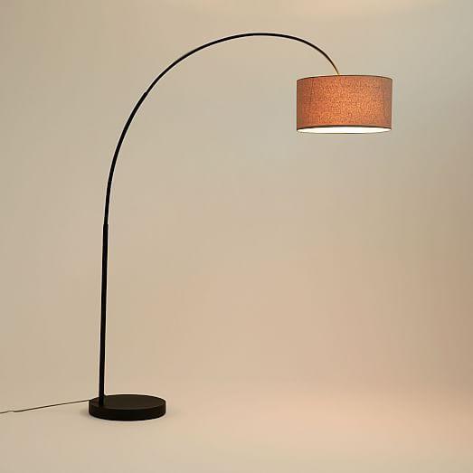 Cfl Overarching Floor Lamp, Antique Bronze/Natural Linen | west elm