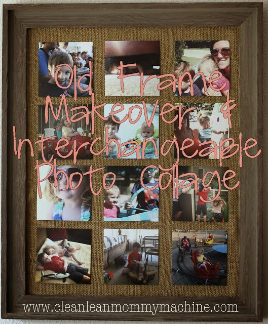 Old Frame Makeover & interchangeable photo collage. #diy #pictures #craft