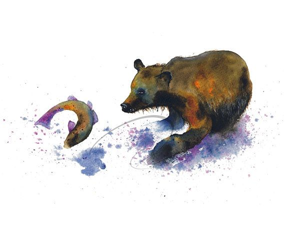 Fishing - Art Print grizzly bear brown jumping salmon river fish wildlife purple watercolor painting blue wall art home decor Oladesign 8x10...