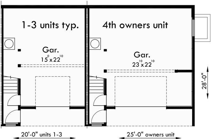 17 best images about triplex and fourplex house plans on for Quadplex plans