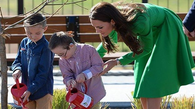 It's been a big morning for six-year-old twin brothers, Oliver and Sebastian Lye, who joined the Duke and Duchess of Cambridge to water the English Oak tree planted by the royal couple in Canberra's National Arboretum.