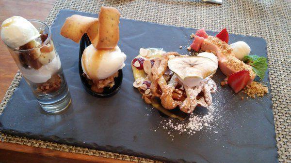 Dessert tasting on #ShimmyWinterMenu at Shimmy Beach Club. Guava cheesecake, Apple Pie, Peanut Butter ice cream, vanilla ice cream, creme anglaise, savory sundae - Oh my word!  www.shimmybeachclub.co.za