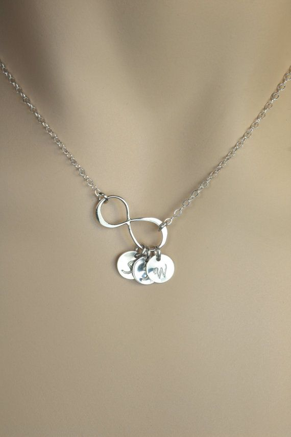 Monogrammed Silver Infinity Disc Necklace. Bridal Jewelry. Gift for Mom, Girlfriend. Personalized Jewelry. Friendship,Couple Infinity Love