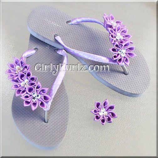 Purple Kanzashi Flip Flop Set by GirlyKurlz.com ❤