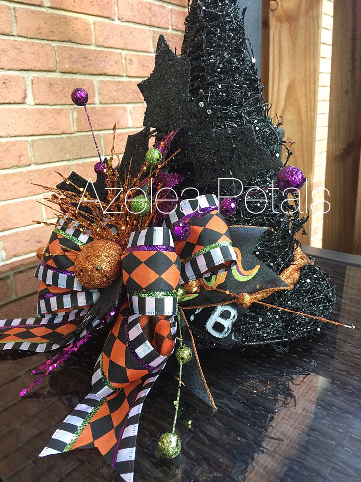 raz witch hat arrangement halloween bat centerpiece witch floral arrangement harlequin decoration - Halloween Centerpieces