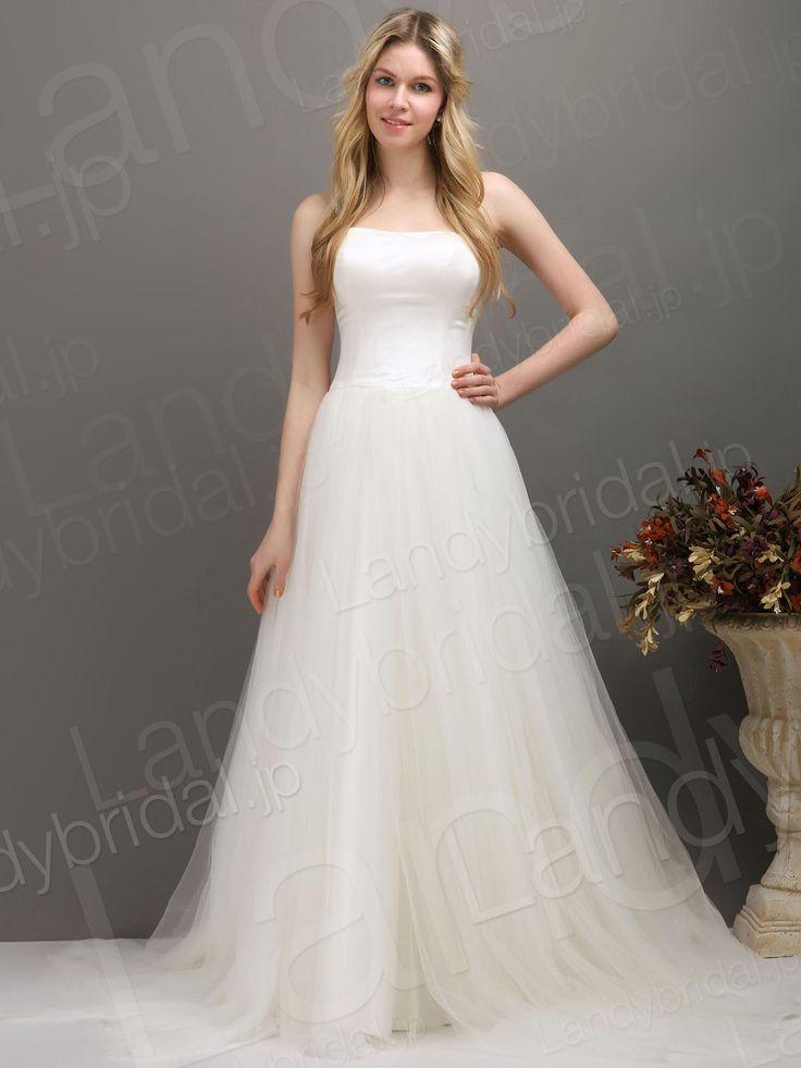 ウェディングドレス Aラインドレス ビスチェ チュール アイボリー 編み上げ式 スウィープトレーン 021165000001