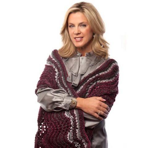 Deborah Norville Elegant Feather & Fan Shawl Free Download Knitting pat...