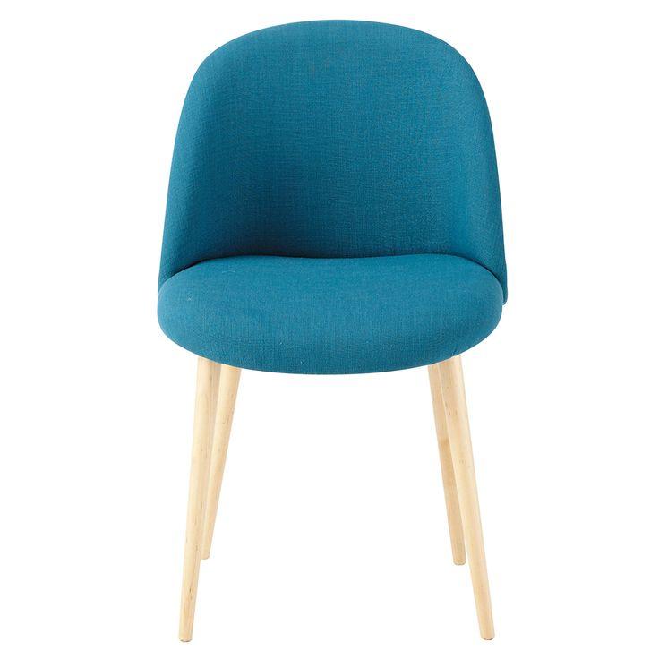 Blauwgroene stoffen en massief berkenhouten vintage stoel Mauricette