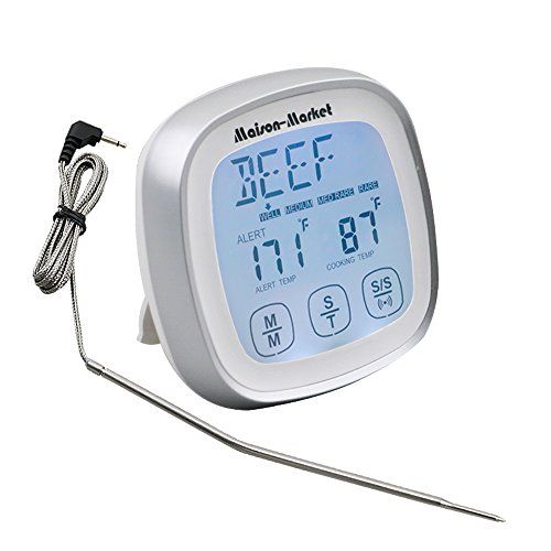 Digital Meat Thermometer Touch Screen Fast Reading Accurate Thermometer, Versatile Timer Alarm for Kitchen Cooking Grill Barbecue Smokers Oven, Maison-Market:   Features:/bbr Touch Screen Design - Latest touch screen design, easy operation, accord with modern people operation habit. No traditional buttons means more space for display and larger display digits.brbr High Heat Resistance - New type of wire can withstand maximum 716°F(380°C), and IP67 waterproof level. More durable and lon...