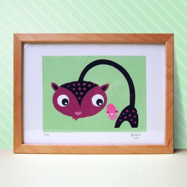 Bilder - Pingpong und Isi (4-farbiger Linolschnitt) - ein Designerstück von Pia-Kolle bei DaWanda