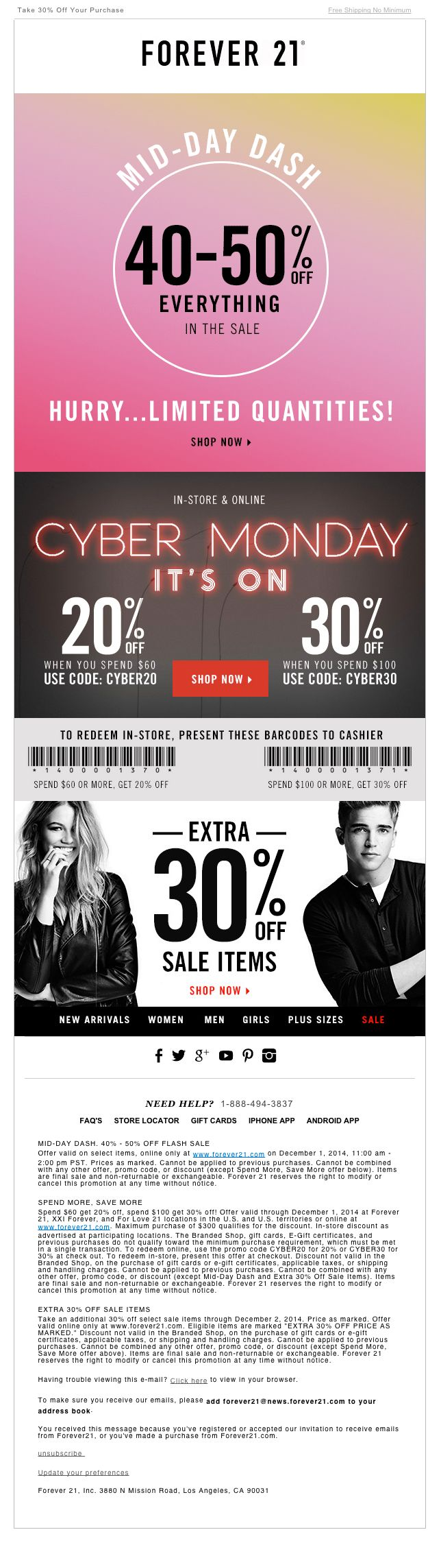 "Forever 21 - Cyber Monday email - animated .gif - Dec. 1, 2014 -""50% Off Flash Sale ★ The Clock is Ticking‏"""