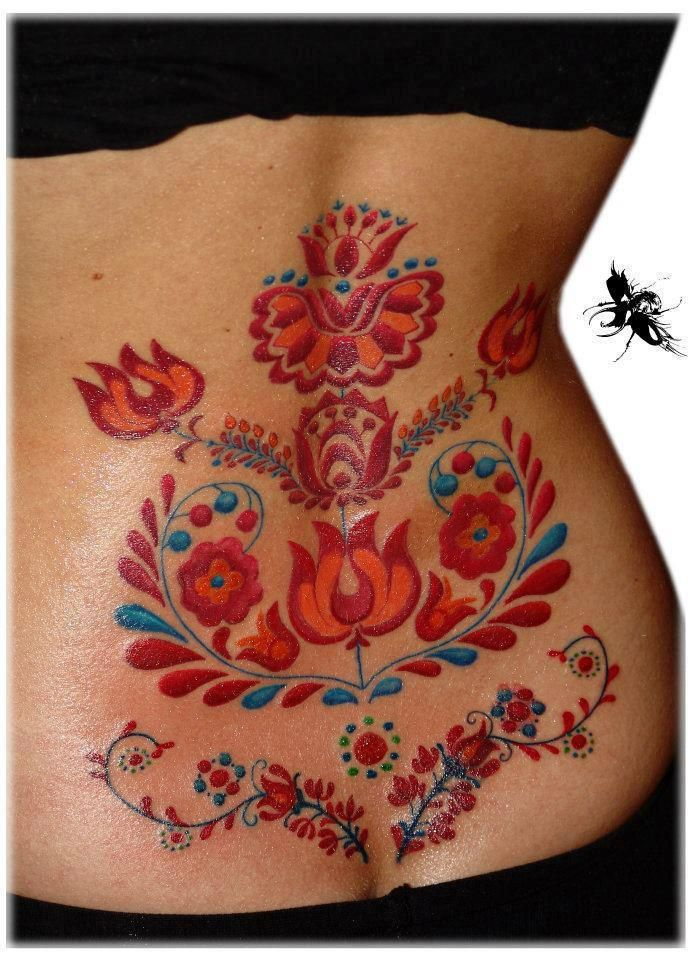 hungarian folk tattoo// I don't really like most tattoos, but this is pretty, kinda too big tho
